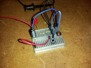 Circuit copied to breadboard (had to use 2 resistors for 1.6K)